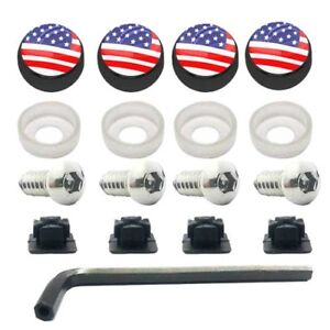 Anti Theft License Plate Security Screws Stainless Black Usa American Flag Cap
