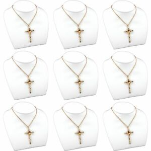 9 Pc White Faux Leather Necklace Bust Chain Display