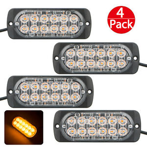 4 Pack 12 Led Amber Light Emergency Warning Strobe Flashing Bar Hazard Grill