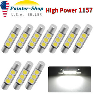 4x Pure White Fuse 27mm 28mm 3smd 5050 Led Sunvisor Vanity Mirror Light Bulbs