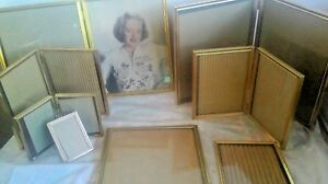 Vintage Etched Gold Tone Metal Picture Frame Lot 8x10 5x7 3x4 2x3 W Doubles