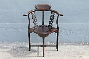 Asian Early 20thc Highly Carved Majorly Decorative Corner Chair