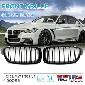 Gloss Black Front Kidney Grille For Bmw F30 F31 328i 335i Sedan wagon 2012 2016