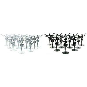 Black Silver Metal Dancer Earring Stands Jewelry Showcase Displays Kit 24 Pcs