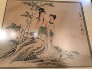 Antique Vintage Chinese Painting On Silk Signed Two Women On Rock Framed 2