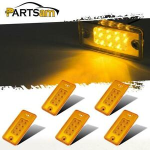 5pc Amber 8led Cab Marker Roof Running Top Light Assembly For Freightliner volvo