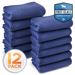 12 Moving Blankets 80 X 72 40 Lb dz Quilted Shipping Furniture Pads Bl blk