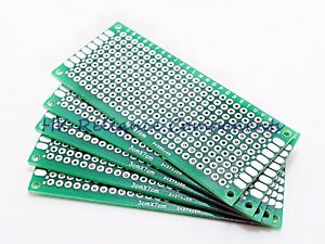 5 3x7cm Pcb Prototype Circuit Board Breadboard Double Side Fr4