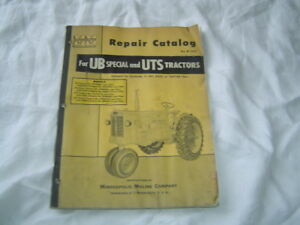 Minneapolis Moline Ub Uts Tractor Parts Catalog Book Manual