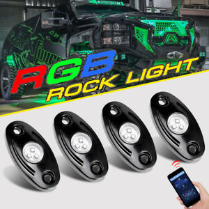 4x Rgb Cree Led Rock Light Bluetooth App Multi Color Flash Offroad For Chevy Gmc