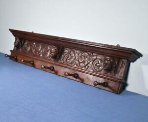 39 Antique French Oak Coat Rack Hall Tree Wood Shelf W Highly Carved Faces