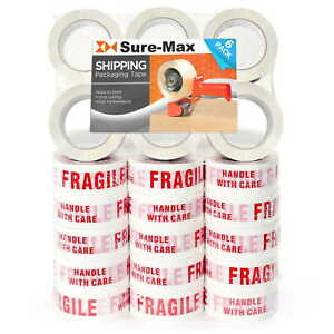 36 Rolls fragile Handle W Care Printed Tape 2 x110 Yard 330 Ea White red