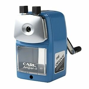 Carl Angel 5 Manual Pencil Sharpener Heavy Duty Office Home School Blue