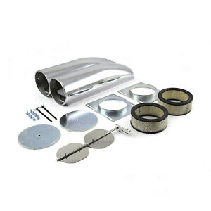 Polished Aluminum Fabricated Dual Carburetor Hood Scoop