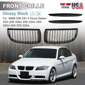 Glossy Black Front Bumper Kidney Grill Grille For 2007 2008 Bmw E90 328xi