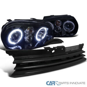 For 99 06 Vw Golf Gti R32 Mk4 Glossy Black Halo Projector Headlights Hood Grille