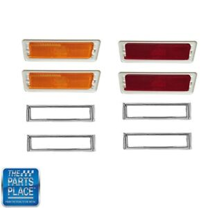 1970 74 Nova Chevy Ii Side Marker Lamp Bezel Set Of 8 Pieces Front And Rear