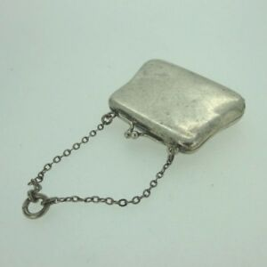 Antique Foster Bailey Signed Sterling Silver Miniature Handbag Purse Box