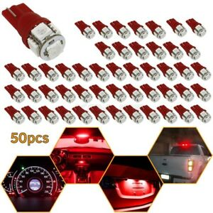 50x Red T10 194 168 2825 Wedge Led Car Turn Signal dome Map Interior Light Bulbs