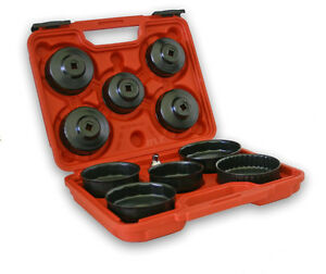 11 Piece Oil Filter Cup Cap Wrench Set 1 2 To 3 8 Reducer Plastic Case