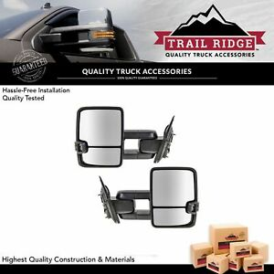 Trail Ridge Towing Mirror Manual Signal Marker Spotlight Oat Chrome Pair For Gm
