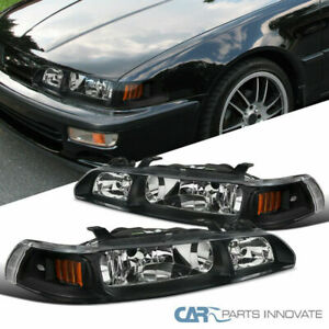 For Acura 90 93 Integra Black 1pc Headlights Driving Lights Head Lamps Pair