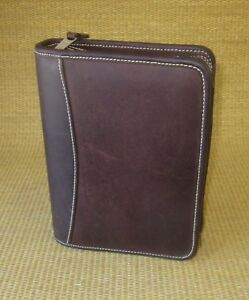 Compact 1 25 Rings Brown Distressed Leather Franklin Covey Planner binder