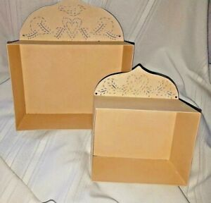 2 Ivory Primitive Vintage Hand Crafted Tin Punched Holders Wall Hanging Shelf