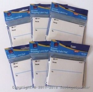 Lot 6 Packs Avery From To Shipping Label Pad 6 Pads 240 Labels New