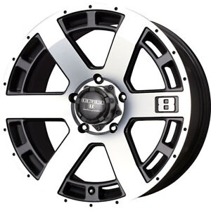 16x8 5 Machined Black Level 8 Scorpion Wheels 5x135 6 Lifted Fits Lincoln