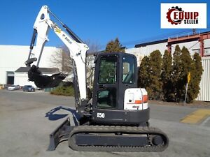 2015 Bobcat E50 Mini Excavator Enclosed Cab Rubber Tracks Swing Boom