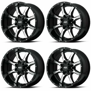 Set 4 16 Moto Metal Mo970 Black Machined Wheels 16x8 8x6 5 0mm Chevy Gmc 8 Lug