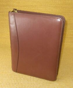 Classic 1 5 Rings Brown Nappa Leather Franklin Covey Zip Planner binder