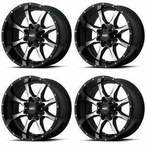 Set 4 17 Moto Metal Mo970 Black Machined Wheels 17x8 8x6 5 0mm Chevy Gmc 8 Lug