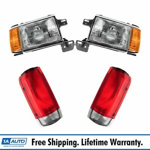 Headlight Lamp Tail Light Front Rear Kit Set Of 4 For 87 90 Ford Truck Suv New