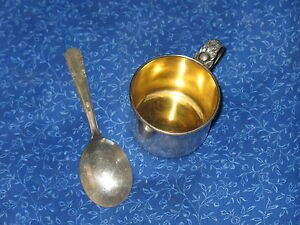 Sterling Silver Child Baby Cup Rlb 551 Floral Handel W Silverplate Spoon