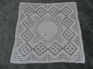 Antique Swiss Appenzell Bridal Handkerchief Embroidered Linen N 1