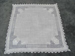 Antique Swiss Appenzell Bridal Handkerchief Embroidered Linen N 2