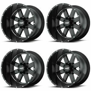 Set 4 20 Moto Metal Mo962 Black Milled Rims 20x12 8x170 44mm Lifted Ford 8 Lug