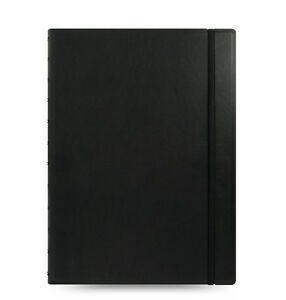 Filofax A4 Size Refillable Leather look Ruled Notebook Book Diary Black 115022