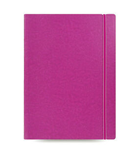 Filofax A4 Size Refillable Leather look Ruled Notebook Book Diary Fuchsia 11502