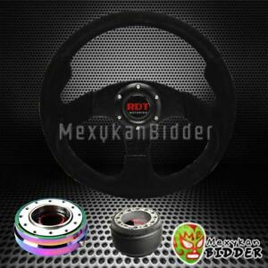 320mm Suede Steering Wheel Neo Chrome Quick Release Hub For Honda Fit 06 14