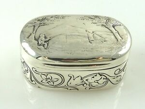 Georgian Sterling Silver Snuff Box Case London Gilt Interior Fishing Sailing