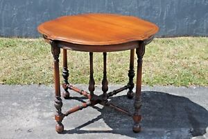 Large Beautiful Detailed Solid Mahogany Foyer Center Table Mid Century