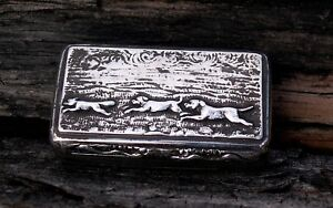 Georgian Sterling Silver Snuff Box Three Running Dogs Birmingham 1832