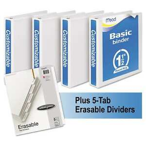Mead Economy Round ring View Binder Plus Pack 1 1 2 Inches Capacity White