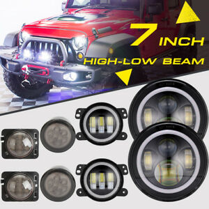 7 Led Headlight 4 Fog Light turn Signal fender Lamp Kit For Jeep Wrangler Jk