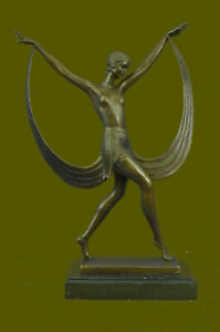 Handmade Classic Dancer Artwork By French Artist Fayral Bronze Deal Figurine
