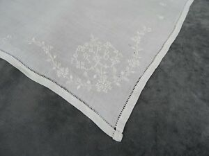 Antique French Fine Whitework Embroideres Hankerchief Monogram Tb