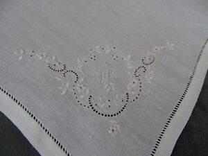 Antique French Fine Whitework Embroideres Hankerchief Monogram Ab N 1